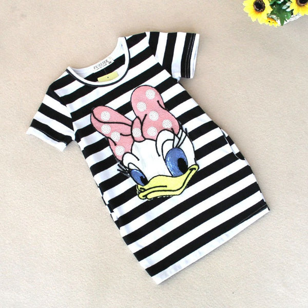 2018 latest summer baby girls striped dress children cartoon Donald Duck print 0-24 months  baby long section T-shirt Dresses