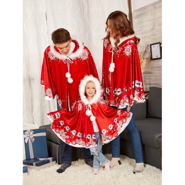 2018 new Family Matching Outfits Christmas red shawl father mother boy girl baby winter Thicken