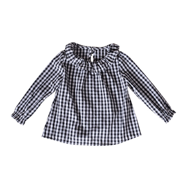 2018 new Spring Clothes Toddler Kids Girls Long Sleeve Cotton  Shirt Checks Plaid Tops Blouse Clothes  dropshipping