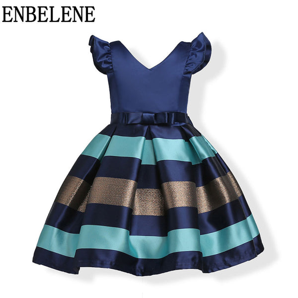2018 newest baby girls A-Line princess dresses children red blue little kids sleeveless striped evening gown party wedding FH668