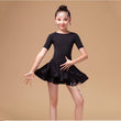 2018 newest girls ballroom Latin dance costume sashes dress children solid orange black big kids short sleeve dancing wear FH646