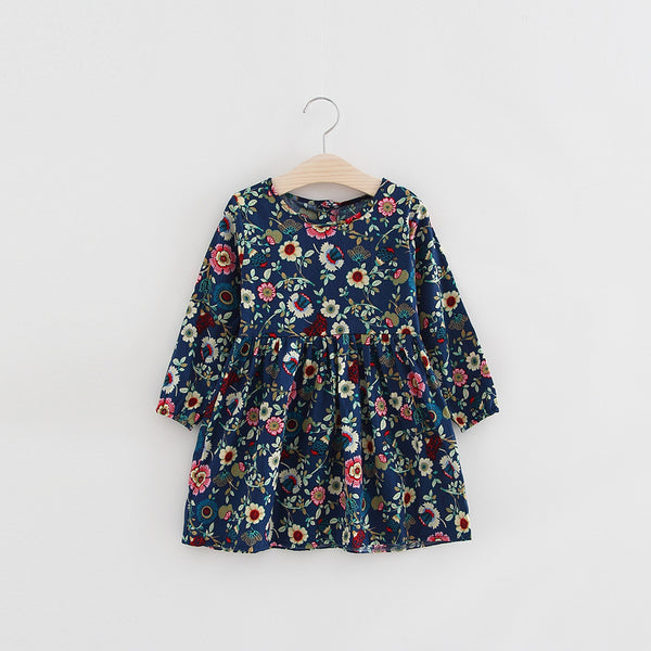 2018 spring baby girls full sleeve floral dresses children yellow blue pink little kids casual cotton knee length dress FH244