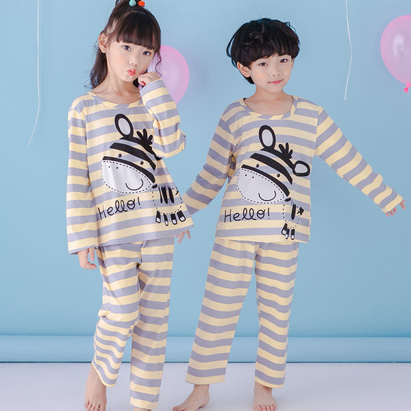 2018 spring stripe striped cute cartoon children with long sleeves trousers set pajamas boys and