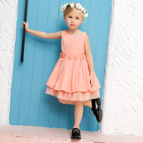 2018 summer baby girls cute princess dresses children crystal pink without sleeve cotton little kids layered beach dress FE061