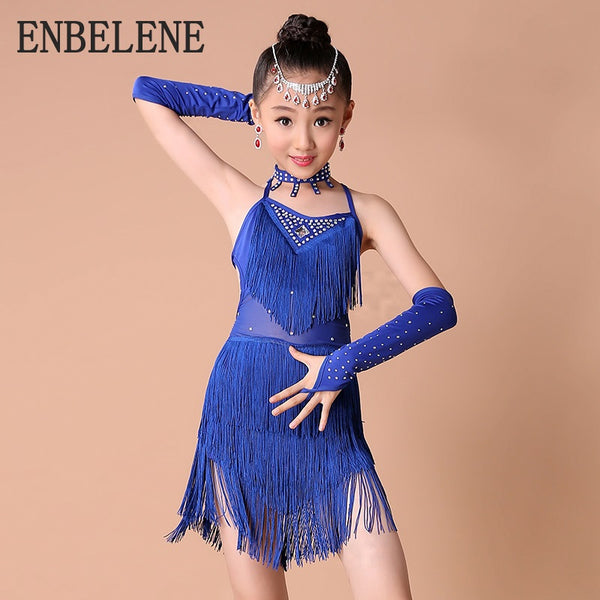 2018 summer baby girls sleeveless Latin dancing costume dresses children red blue big kids dance clothes suit performance FH746