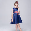 2018 summer big girls princess floral dresses party wedding flower satin cotton A-line red children kids evening gown FD017