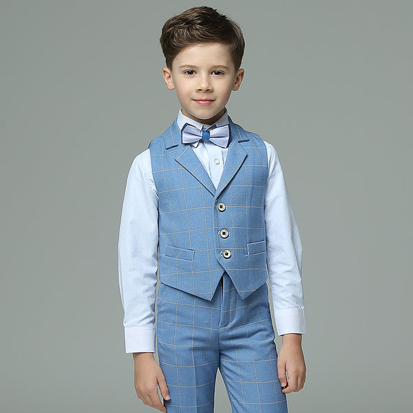 2018 summer boys suits plaid light blue vest sets wedding suits for kids tuxedos boys wedding