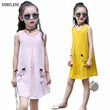 2018 summer girls casual cotton linen sleeveless dresses children breathable pink pocket big kids loose vest beach dress FG070