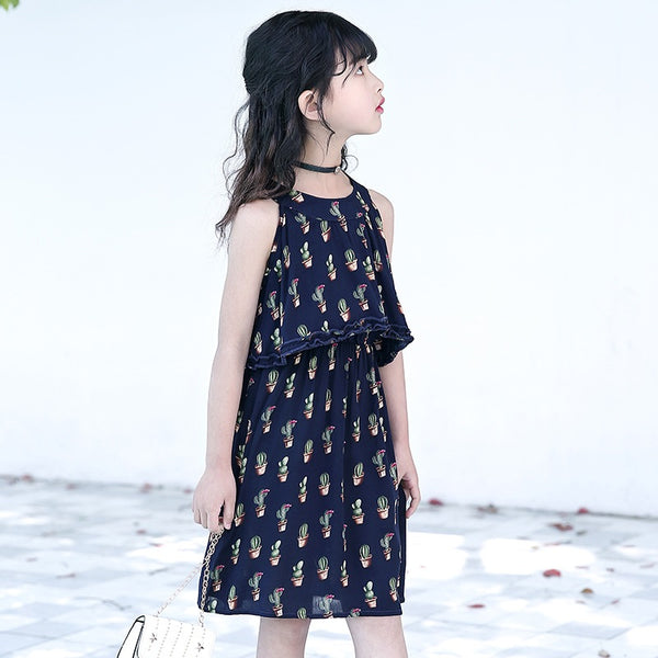 2018 summer girls casual knee length floral dresses for children yellow blue cotton big Kids sweet sleeveless slip dress FH755