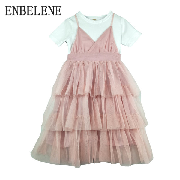 2018 summer girls casual tiered layered dresses for children pink green  patchwork big kids cotton short bd2dcaa97