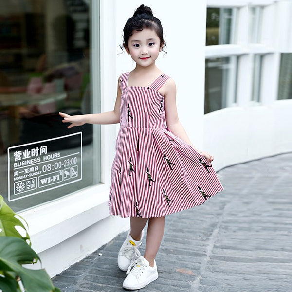 2018 summer girls cotton striped sling dresses children pink embroidery big kids casual sleeveless floral beach dress FG058