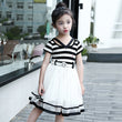 2018 summer girls fashion navy striped princess dresses for children pink preppy style big kids casual cotton sashes dress FG057
