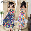 2018 summer girls vintage long floral dresses children flowers print slash neck big kids cotton sleeveless beach sundress FH430