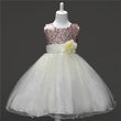 2018 summer little girls tutu princess dress costume children flowers gold sequined kids evening gown for party wedding FE298