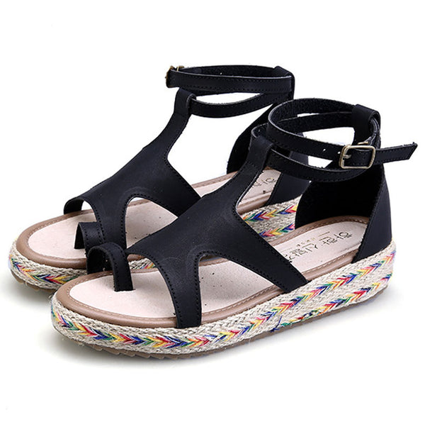 2018 summer new simple Roman shoes woman sandals casual platform shoes women sandals buckle flat