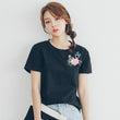 2018 summer t shirt women flower embroidery ladies top t-shirt women short sleeve tee camiseta t-shirt women cotton female