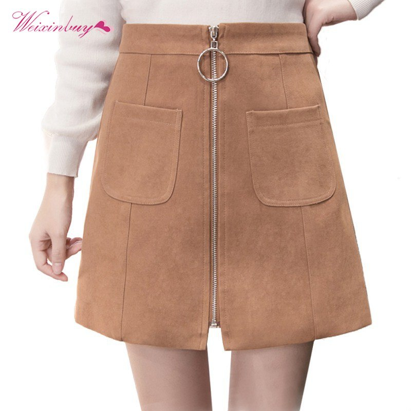 86a17884e 2018 the Ring zipper A-Line Skirt with Pockets for Women Casual ...