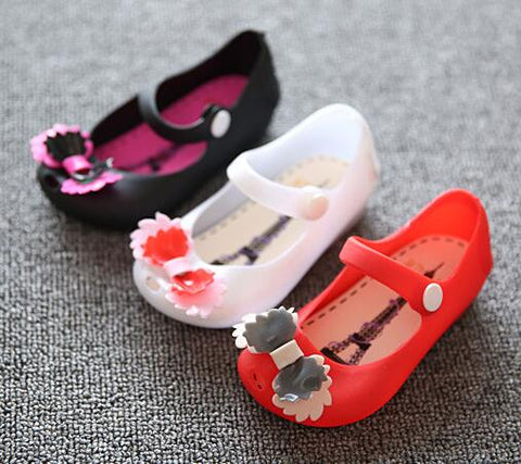 2018 toddler kids Girls jelly sandals Lovely bow princess shoes Rubber bottom kids baby moccasins autumn Children shoes