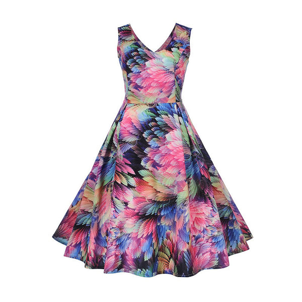 2018 vintage dress women summer floral print backless polished elegant cute party dress