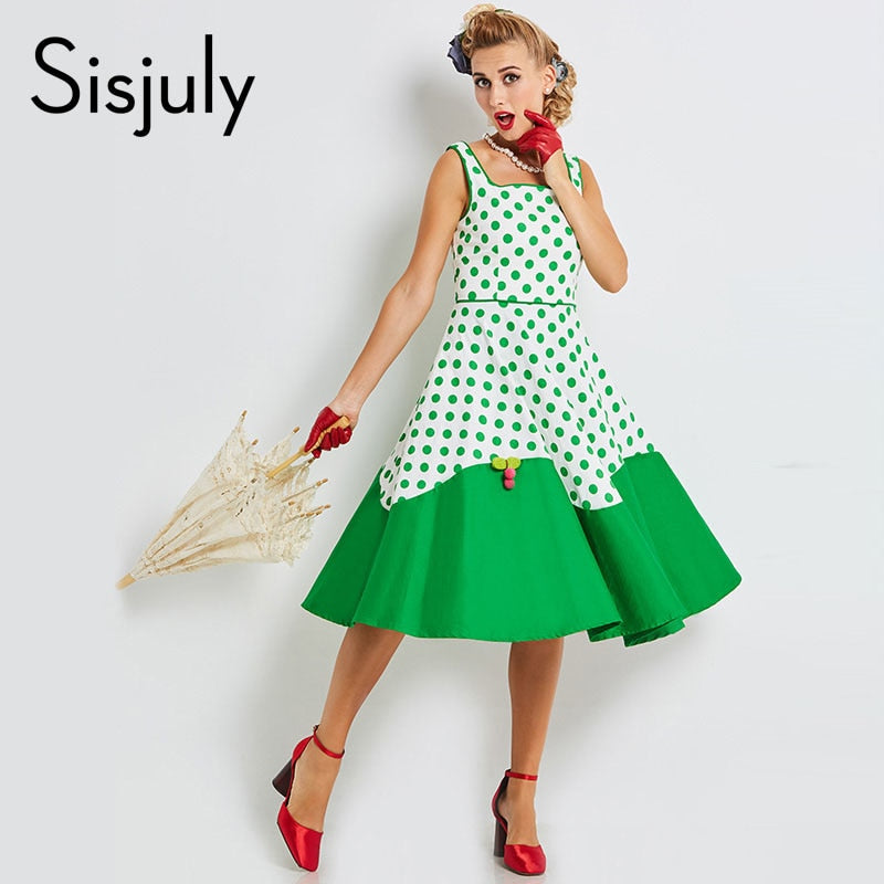 2018 Women Vintage Dresses Pin Up Polka Dots Patchwork 1950s Retro Dress A Line Cute Female Sexy New Beal