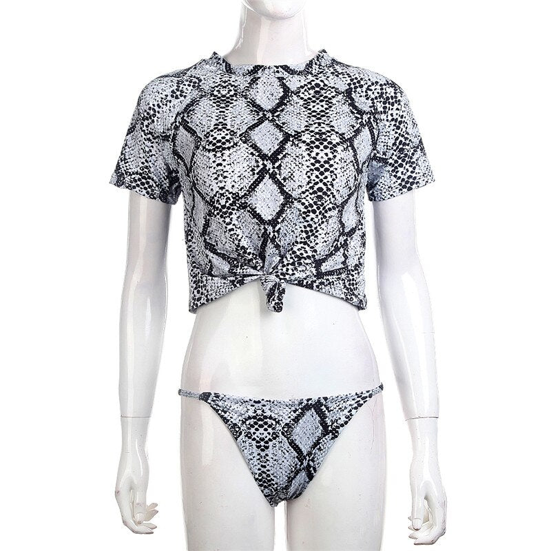 398e7dc0cc1e 2019 Sexy leopard animal print biquini Sporty Short sleeve padded bikini  top thong bathing set maillot de bain Vintage Beachwear – Beal | Daily  Deals For ...