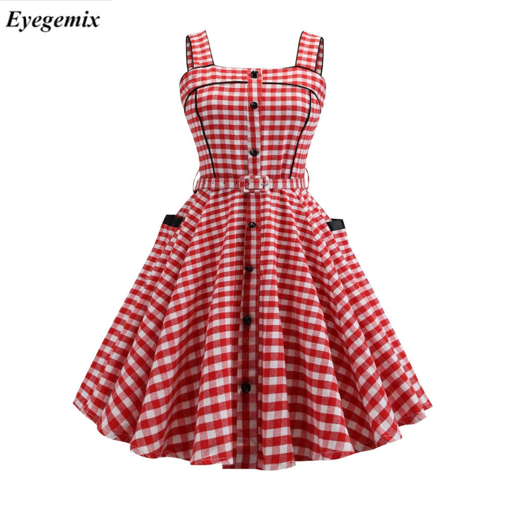 e36673c3003 2019 Summer Retro Vintage Dress Slim Pink Plaid Print Casual Elegant Party Dresses  Cute Bodycon Dress Plus Size Vestidos – Beal