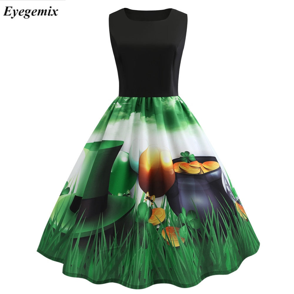 a36009acc8813 2019 Women Summer Vintage Dress Elegant Robe Swing Party Dress Casual Lucky  Floral Print
