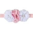 24Clrs New Fashion Hot children kids Baby girls pearl diamond 3 flowers Headband Headwear Hair