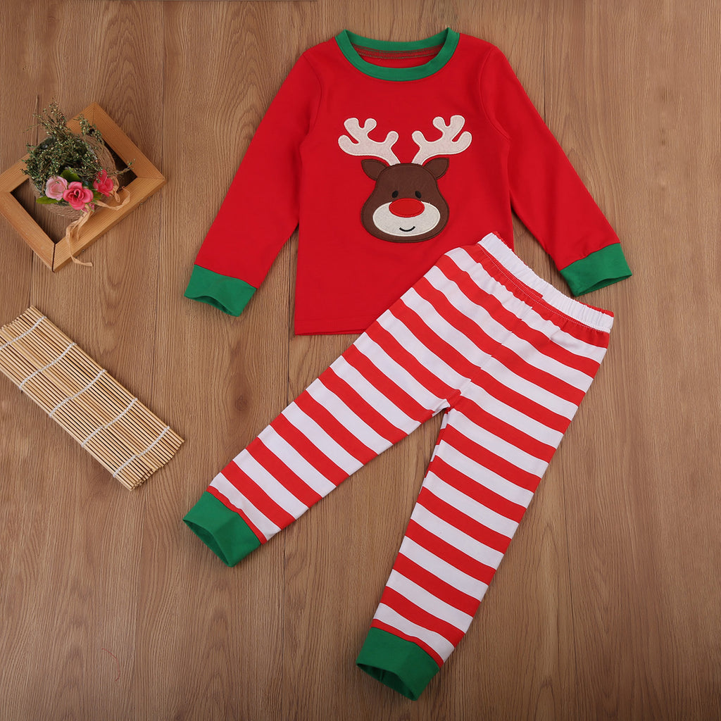 e73116837b5e 2PCS Children Boy Girl Christmas Pajama Set Long Sleeve Tops+Striped Pant  Nightwear Toddler Baby Boys Girls Xmas Clothes 1-7Y – Beal | Daily Deals  For Moms