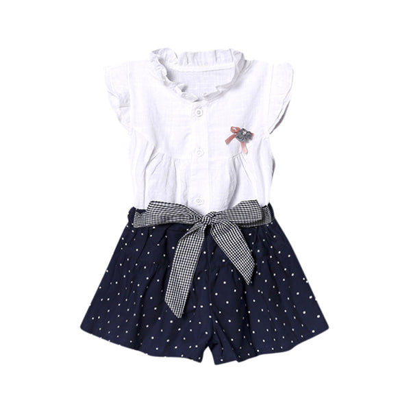 2Pcs Newest Style Summer Baby Kid Cotton Princess Girls Infant Baby Girls Bow Dot Print Tops Vest+Shorts Outfits Clothes Set