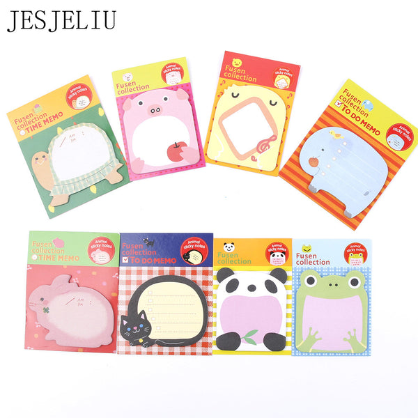 2pcs Creative Stationery Forest Animal Series Cute Paper Memo Pad / Sticker Post Sticky Notes Notepad School Office Supplies