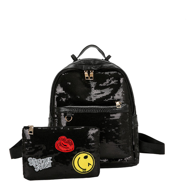2pcs/Set Fashion Glitter Sequins School Backpack Women PU Leather Backpack Girls Cartoon Label