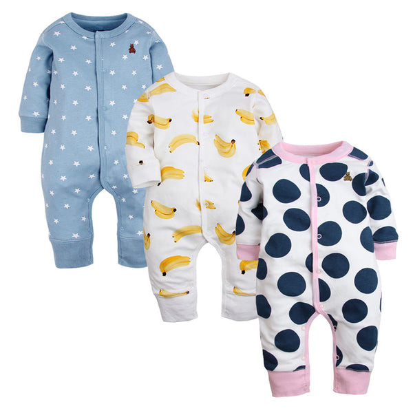 3 PCS New Brand Baby Rompers Long Sleeves Cotton Newborn Baby Clothing Fashion Cartoon Printed Baby