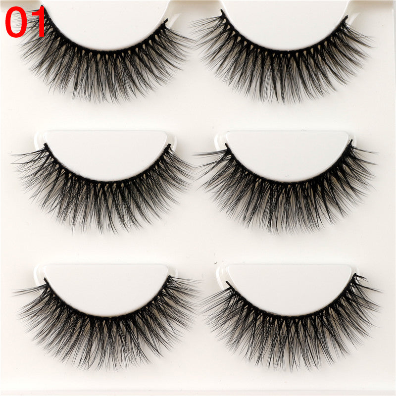 3 Pairs Natural False Eyelashes Fake Lashes 3d Long Mink Lashes