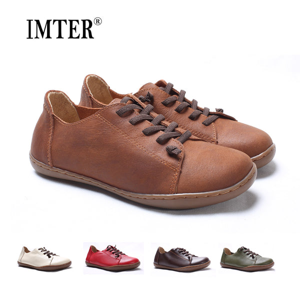(35-46)Women Shoes Flat 100% Authentic Leather Plain toe Lace up Ladies Shoes Flats Woman