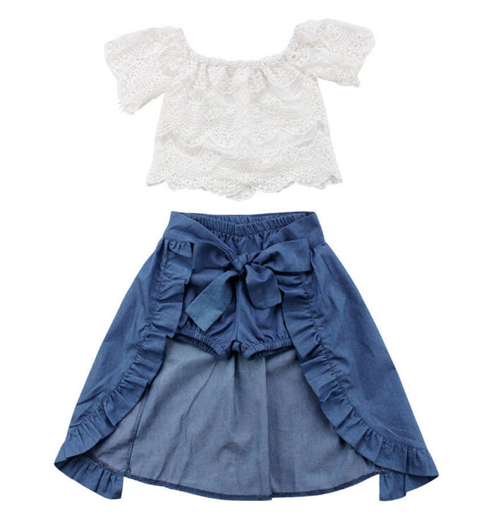 3PCS Baby Girl Clothes Sets Lace Off-Shoulder T-shirt Tops Skirts Shorts  Bowknot Denim Summer Party Clothes Set Child 1-6T – Beal  a3eed2f14