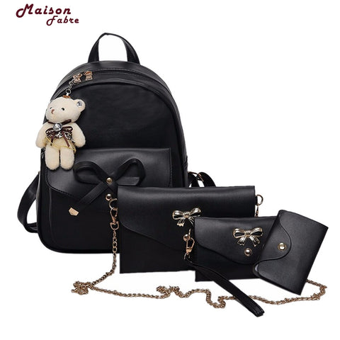 3Pcs/Set Small Women Backpacks female 2017 School Bags For Teenage Girls Black PU Leather Women