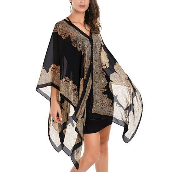 87903316b3ddf0 Elegant Women Lady Chiffon Floral Print Cape Poncho Blouse Top – Beal |  Daily Deals For Moms