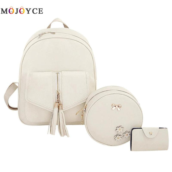 3pcs/Set Tassels Bowknot PU Leather Women Backpacks Cute School Backpacks For Teenage Girls Female