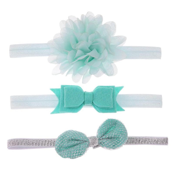 3pcs/lot Toddler Baby Girls Elastic Flower Headband Soft Strenchy Bowknot Floral Headband Baby