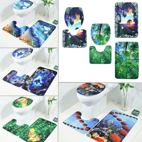 3pcs/set 3D Anti Slip Water Absorb Floor Carpet Bathroom Mat Set Polyester Floor Bath Mats