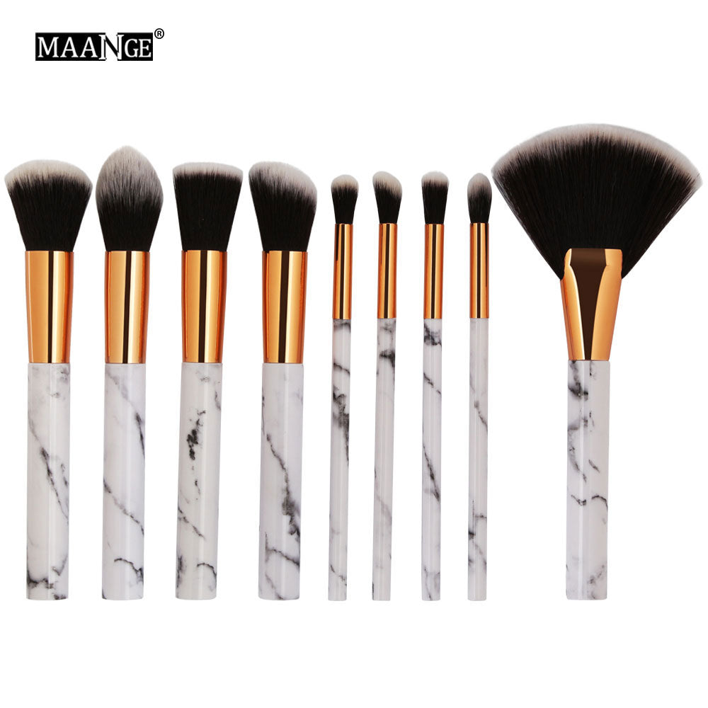 5/9/10pcs/Set Pro Marbling Makeup Brushes Powder Foundation Eye Shadow Lip Marble Make Up Brush