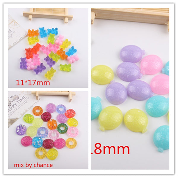 50pcs/lot flat back resin cabochons accessories resin candy mix colors kawaii resin crafts