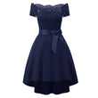 50s vintage dress women a-line lace bow mid-calf backless patchwork short sleeve slash
