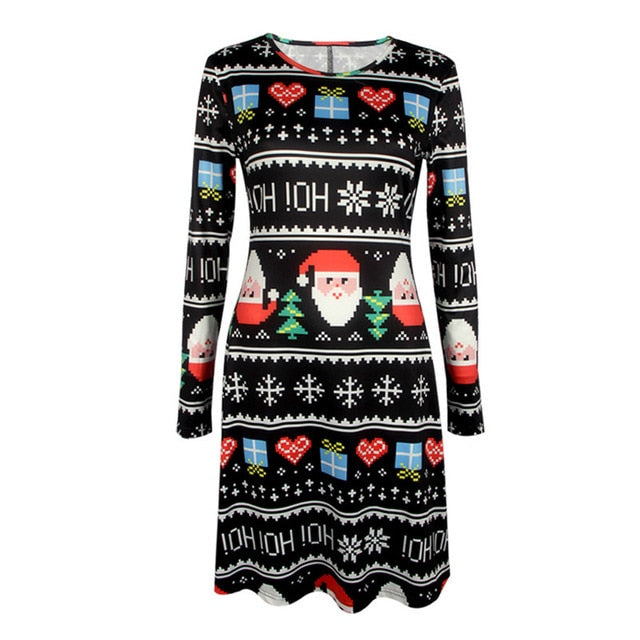 Mother Christmas Outfits Plus Size.5xl Plus Size Women Long Sleeve Loose Dresses 2018 New Casual Christmas Dress Tree Snowman