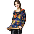 5XL T-Shirt Femme Camisas Femininas 2017 T Shirt Women Winter Floral Fashion Slim Velvet Tshirt Womens Long Sleeve Tops Plus Siz