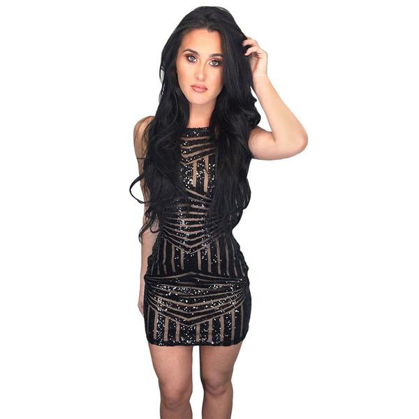 81c066a1 Fashion Sexy Slim Party Night Club Wear Sequin Perspective Dress Tight –  Beal | Daily Deals For Moms