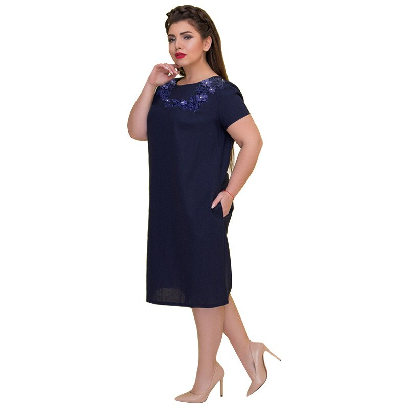 6XL Plus Size Dress Women 2019 Spring Summer Office Work Dresses Elegant  Party Short Sleeve