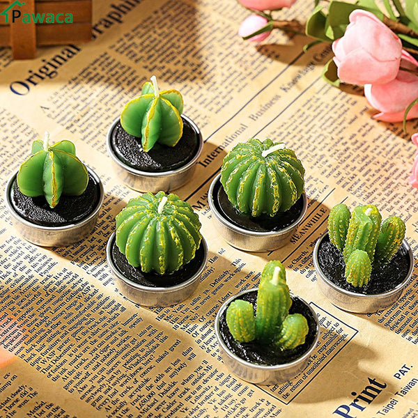 6pcs/set Home Decor Cactus Tealight Candle Table Tea Light Garden Mini Wax Green Candles For Wedding Party Birthday Decoration
