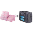 6pcs/set Nylon packing cube large capacity double zipper Waterproof bag Luggage Clothes Tidy Organizer Nylon Folding Bag Bolsa